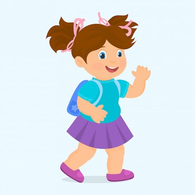 学校のバックパックを持つ少女