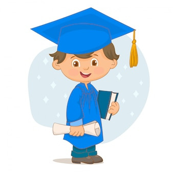 卒業証書と本を持つ少年