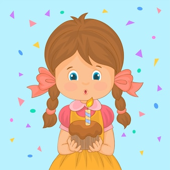 ケーキのろうそくを吹く少女