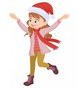 Счастливая девушка в зимней одежде