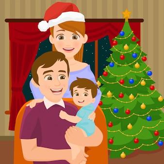 クリスマスツリーの近くの家族