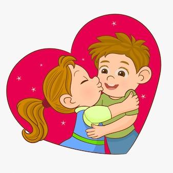 男の子と女の子がキス