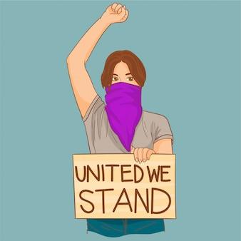 Женщина протестует за равенство