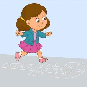 石けり遊びで遊ぶ女の子