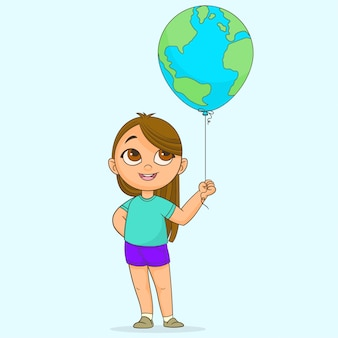 Девушка держит глобус шар