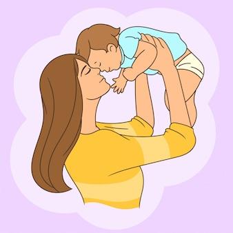 男の赤ちゃんと遊ぶ母