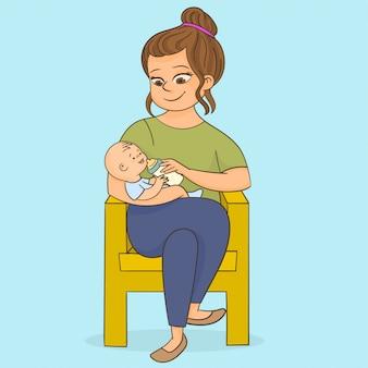 彼女の赤ちゃんに牛乳瓶を供給
