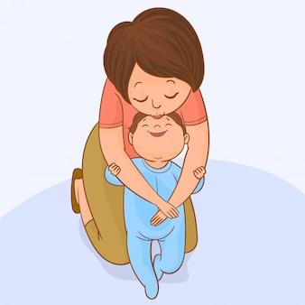 赤ちゃんは母親の助けを借りて最初の一歩を踏み出す