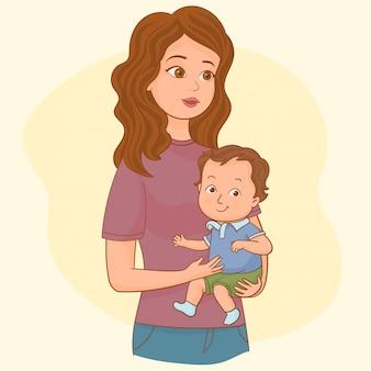 彼女の赤ちゃんを持つ若い母親