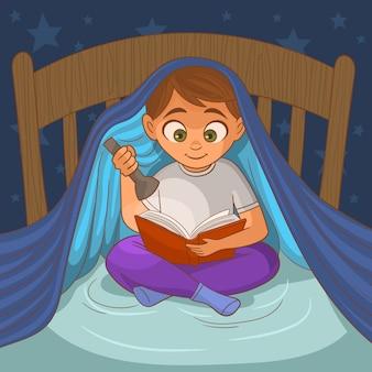 暗闇の中で本を読む