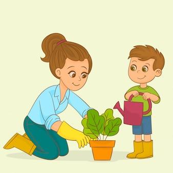 少年と彼の母親は庭で