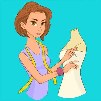 女性の裁縫師のマネキンのドレスを着て