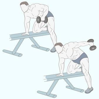 上腕二頭筋運動をしている男性のボディービルダー