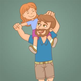 彼の肩にピギーバックの息子を与える幸せな父