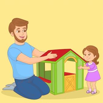 Отец и его маленькая дочь играют вместе с кукольным домиком