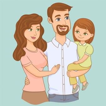 幸せな家族。父、母、そして娘