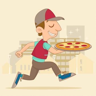 Парень с доставкой пиццы