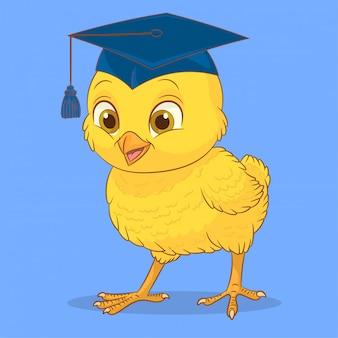 卒業の帽子と小さな鶏