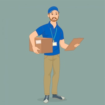 彼の手にボックスを持つ配達サービス人