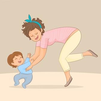 彼の最初のステップを作る幸せな赤ちゃん