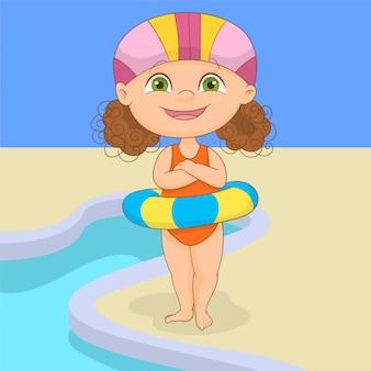 夏のインフレータブルリングを持つ少女