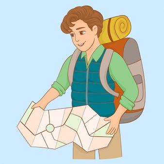 Мужской турист с рюкзаком, глядя на карту