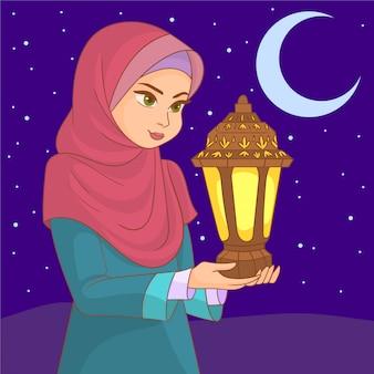 Молодая девушка празднует рамадан