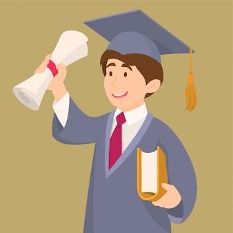 卒業ガウンとキャップを保持している卒業証書の学生