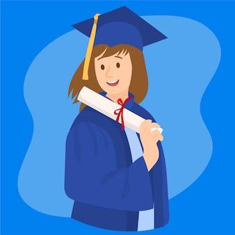 卒業証書を持つ大学院の女の子