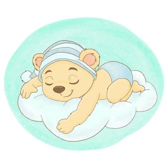Милый медведь спит на облаке