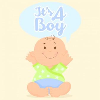 赤ちゃんとグリーティングカード。それは男の子だ