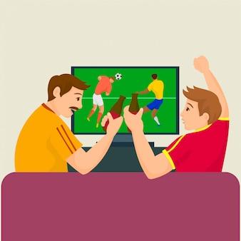 ビールを飲みながらテレビでサッカーの試合を見ている友人