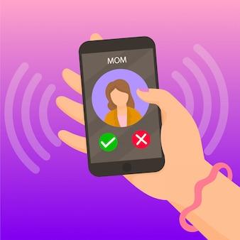 スマートフォンの画面で着信通話