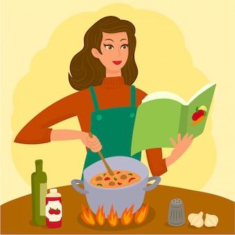 女性のスープ作り