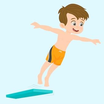 プールに飛び降りる陽気で幸せな少年