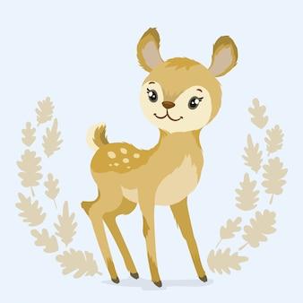 オークの葉で飾られた鹿