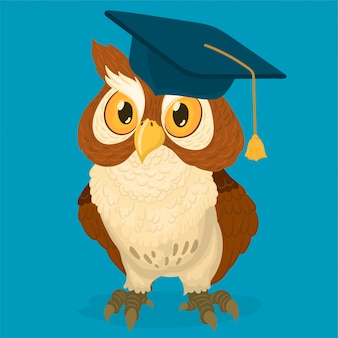 卒業の帽子をかぶっているフクロウ