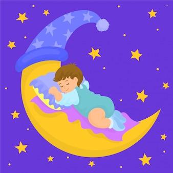 Ребенок спит на луне