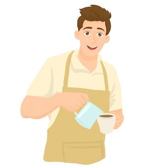 エプロンのバリスタ、カップに牛乳を注ぐ