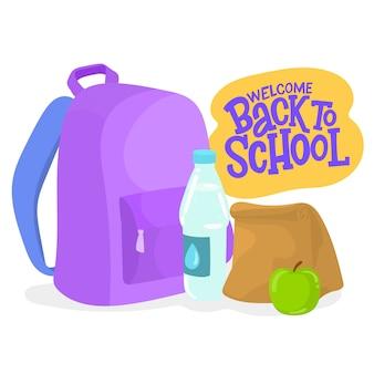 Рюкзак с едой, водой и яблоком.
