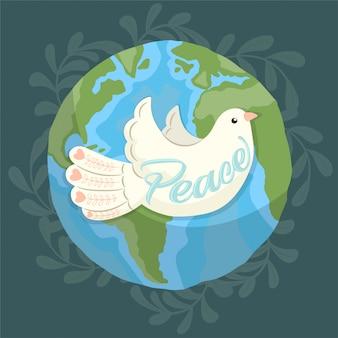 地球を飛び回る平和の象徴としての鳩