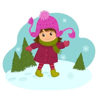 Девушка в теплой куртке в зимний период.