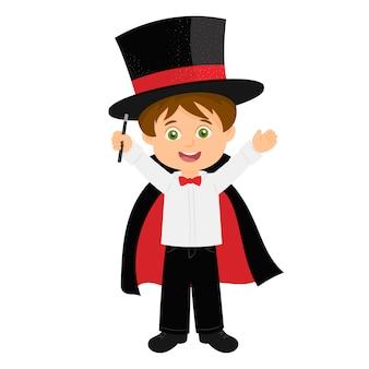 小さな男の子の魔術師のパフォーマンス
