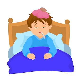 口の中に温度計を備えたベッドで病気の少年