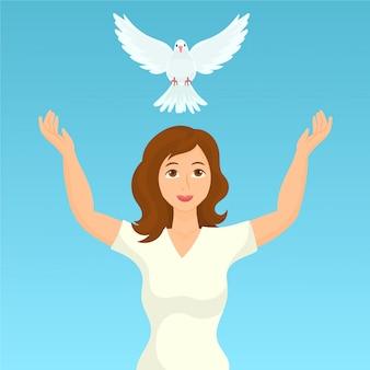 女性が平和の鳩を放つ