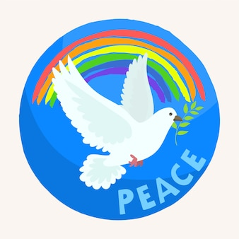 Белая голубиная птица с голубым небом и цветной радугой