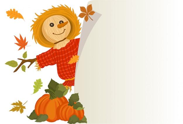 かわいいかかしとカボチャで秋の収穫