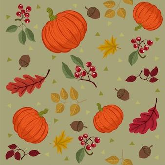 秋をテーマにしたシームレスなパターン