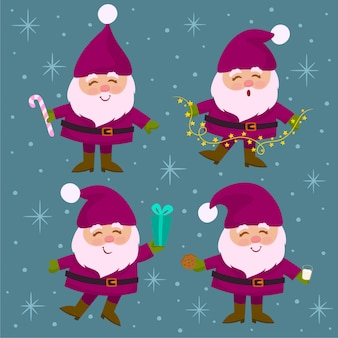 Коллекция рождественских санта-клауса.