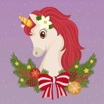 かわいいクリスマスユニコーン